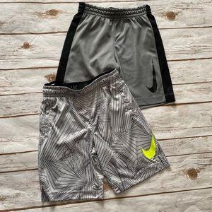 NIKE Boys Athletic Shorts Gray Size 7